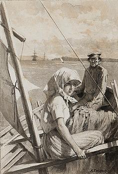 """ALBERT EDELFELT, """"PÅ HAVET, VÄLGÖRENHETSLAVERING""""."""