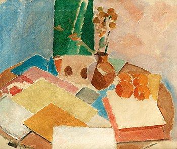 """5. Karl Isakson, """"Nature morte med blommor, frukter och böcker""""."""