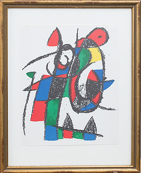 JOAN MIRÓ, JOAN MIRÓ, originalfärglitografi. Ur Miro Litographe II.