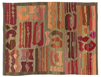 480. Alice Lund, A TAPESTRY. Flat weave with soumak technique. 128  x 167 cm. Signed AL and embroidered AL _ SW 1962 at the lining.