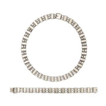 12. Oscar Gundlach Pedersen, a sterling set, a collier and bracelet for Georg Jensen, Copenhagen 1945-77.