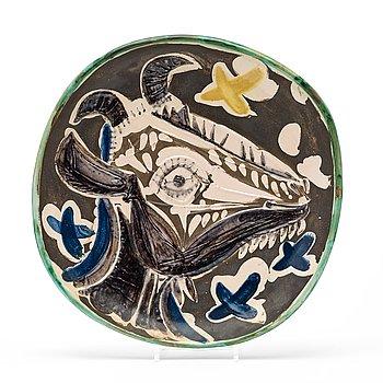 250. Pablo Picasso, a 'Tëte de chèvre de profil' faience dish, Madoura, Vallauris, France 1952.