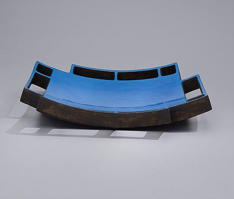 "Satu syrjÄnen, a ceramic sculpture, ""blue field"", signed satu syrjänen 2009"