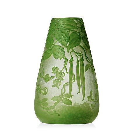 Gunnar wennerberg, an art nouveau cameo glass vase, kosta.