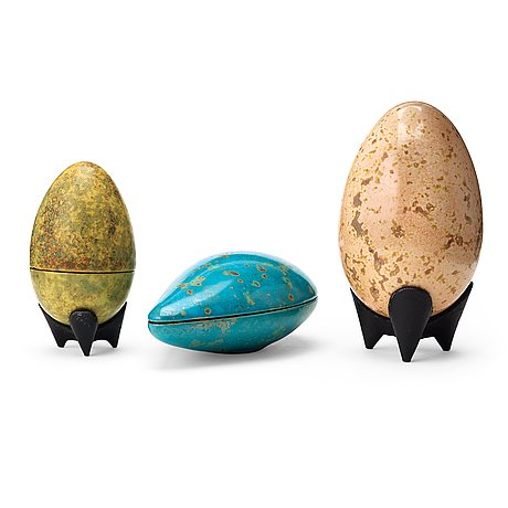 Hans hedberg, two faience eggs and a drop-shaped box, biot, france.