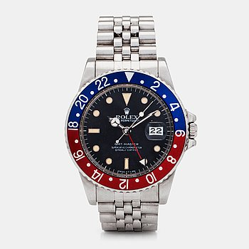 962. ROLEX, Oyster Perpetual, GMT-Master (Swiss-T<25), Chronometer, wristwatch, 39 mm,