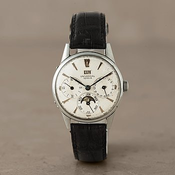 """116. UNIVERSAL, Geneve, """"triple calendar with moon phase"""", wristwatch, 33 mm,"""