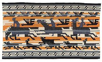 """477. Märta Måås-Fjetterström, A TAPESTRY. """"Odins jakt""""/""""Odens jakt""""/""""Odens jagt"""". Flat weave. 120,5 x 213  cm. Designed by Märta Måås-Fjetterström."""