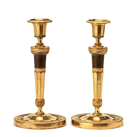 A french empire early 19th century candlesticks.