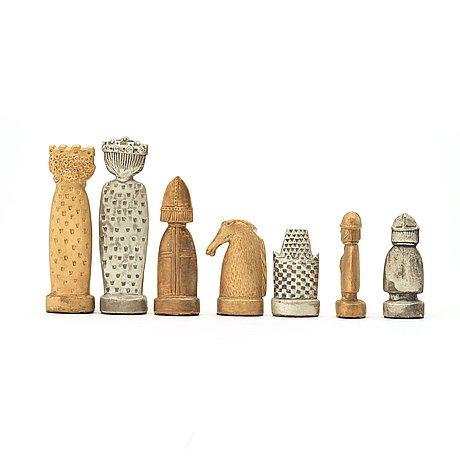 Stig lindberg, schackpjäser, 31 st, gustavsberg 1970-tal.