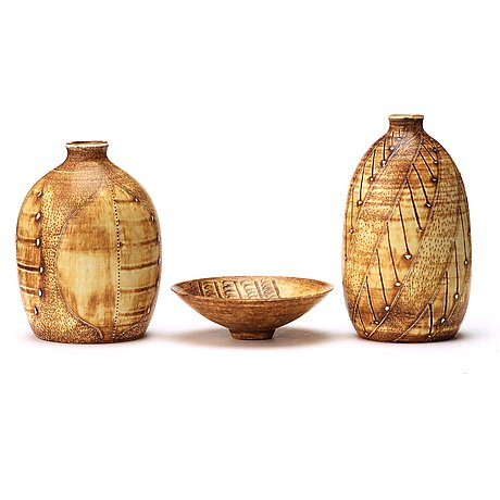 Anders bruno liljefors, two stoneware vases and a bowl, gustavsberg studio ca 1950.