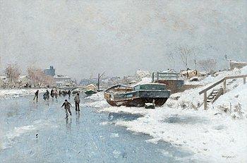 83. Wilhelm von Gegerfelt, Canal Scene with ice skaters.