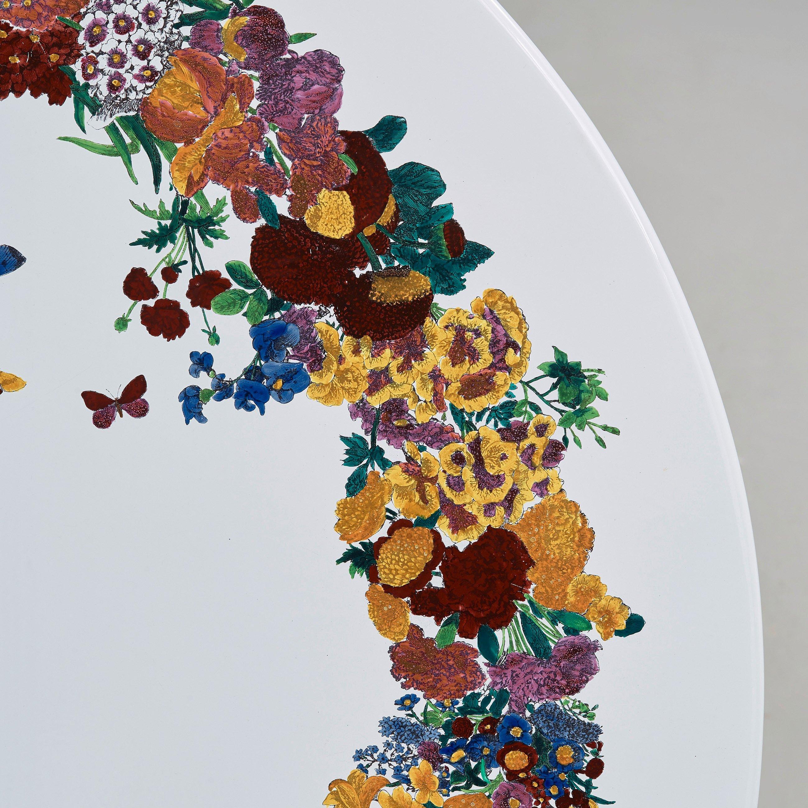 Piero Fornasetti, an enameled 'Corona d fiori' garden table