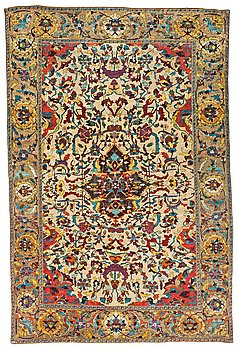 449. A RUG. An antique silk Kashan so called Motachem. 202,5 x 136,5 cm.