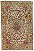 A rug. an antique silk kashan so called motachem. 202,5 x 136,5 cm.