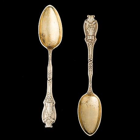 Skedar ett par, fabergé, förgyllt silver, ryssland 1896 1907, vikt 166,8 g