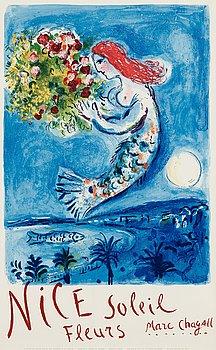 195. MARC CHAGALL, färglitografi, 1962, tryckt av Mourlot, Paris, utgiven av Commisariat Géneral au Tourisme, Paris.
