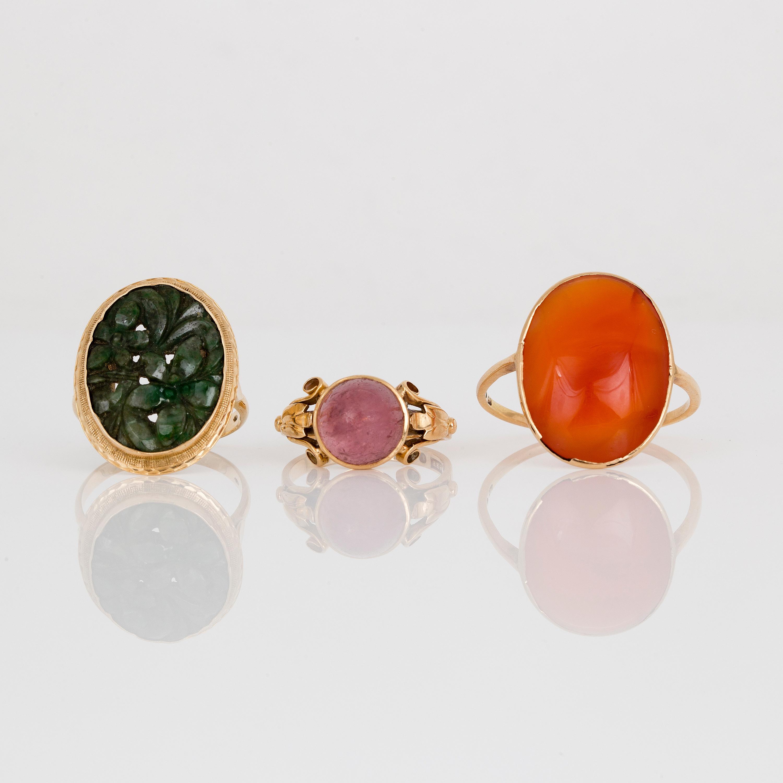 cb2652be6258 RINGAR, 3 st, med skuren grön sten, cabochonslipade karneol och rosa ...