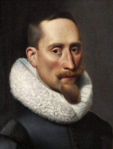 Jacob hoefnagel tillskriven, mansporträtt med spetskrage