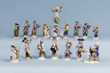A part monkey orchestra, comprising three 19th Century Meissen figures, the others with Meissen like mark. (17). Height 12-19  cm.
