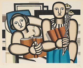 FERNAND LÉGER After, FERNAND LÉGER, Lithograph in colours, 1953, on arches paper, signed in pencil and numbered 55/350, after Fernand Léger.