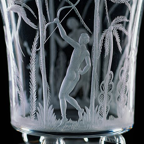 Edward hald, an engraved glass goblet with cover, orrefors 1922.