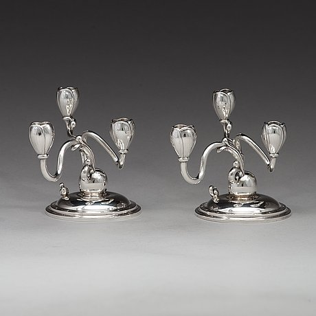 A pair of w.a. bolin silver candlesticks, stockholm 1934.