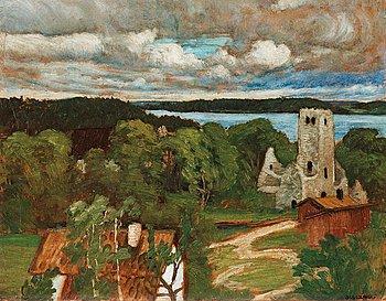 648. Helmer Osslund, Church ruin with heavy skies, Sigtuna.