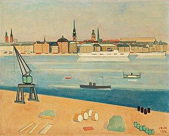 """14. Einar Jolin, """"Stockholm, utsikt mot Skeppsbron""""."""