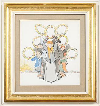 CARL LARSSON, akvarell och tusch, signerad.