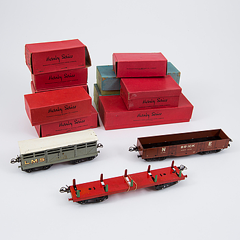Twelve O-gauge Hornby train wagons England 1930s.