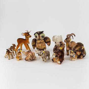 Twelve Steiff animals Germany 1960s.