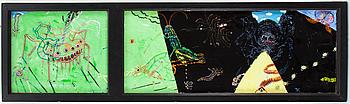 KARIN FROSTENSON, akryl på glas, monogramsignerad.