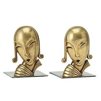 277. Carl-Einar Borgström, a pair of Swedish Grace bronze book ends, Ystad Metall, Sweden.