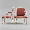 A large pair of swedish rococo 18th century armchairs.