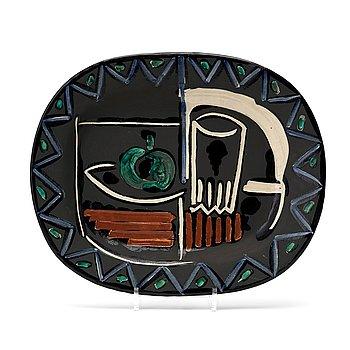 258. Pablo Picasso, a faience dish 'Nature Morte', Madoura Vallauris France 1952. A. Ramié no 219.