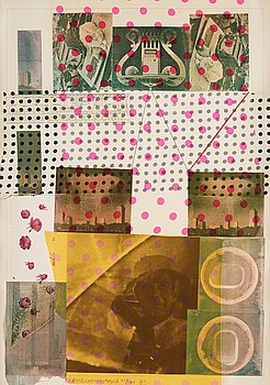 13. Robert Rauschenberg, ROBERT RAUSCHENBERG, Silkscreen in colours and with collage of fabric and a ruler signed and dated 1983, numbered 21/125.