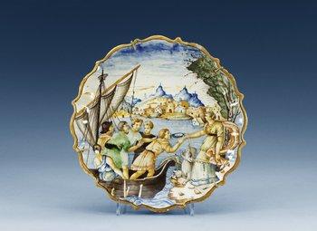 1206. An Urbino maiolica tazza, 16/17th Century.