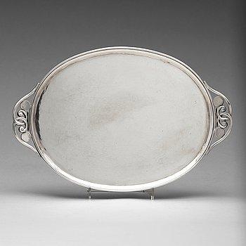 4. JOHAN ROHDE, bricka, för Georg Jensen, Köpenhamn 1925-32, sterling silver, designnr 321D.