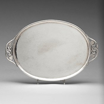 4. Johan Rohde, a sterling silver tray, Georg Jensen, Copenhagen 1925-32, design nr 321D,