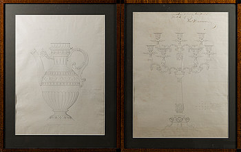 DRAWINGS FOR SILVER OBJECTS,  ink, early 19th century.