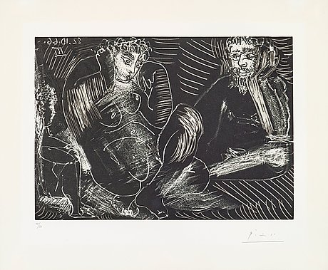 Pablo picasso, pablo picasso, etching with aquatint, 1966, on bfk rives paper, signed in pencil and numbered 15/50.