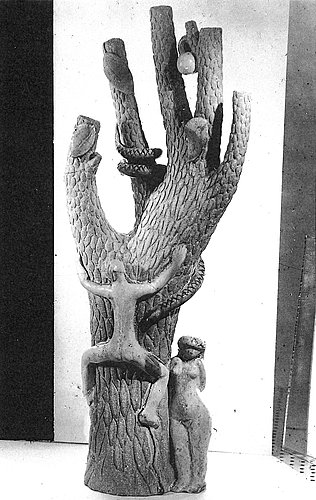 Stig lindberg, a stoneware sculpture of adam and eve in the tree of knowledge, gustavsberg studio, sweden 1945.