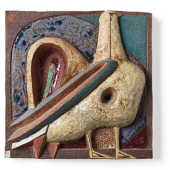 214. Tyra Lundgren, a stoneware relief 'Rooster'.