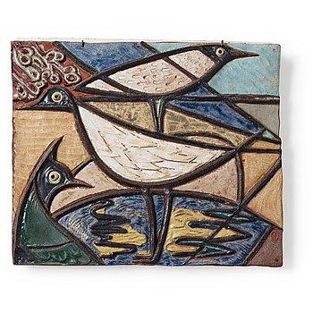 217. Tyra Lundgren, a stoneware relief 'Shore birds', Sweden 1950's.