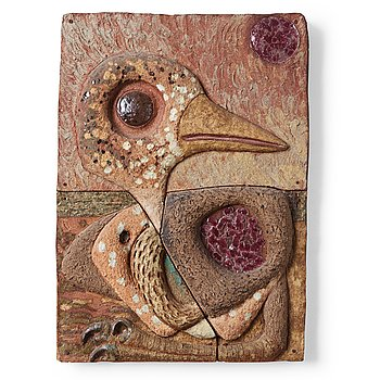 225. Tyra Lundgren, a stoneware relief 'Nestling with red sun', Sweden 1960's.