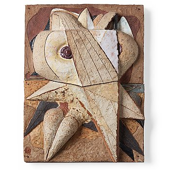 220. Tyra Lundgren, a stoneware relief 'Dove abstraction', Sweden 1960's.