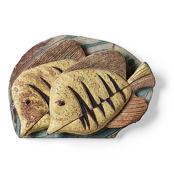 215. Tyra Lundgren, a stoneware relief 'Yellow fish', probably 1950's.