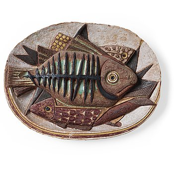 216. Tyra Lundgren, a stoneware relief 'The Skeleton fish', Sweden 1950's.