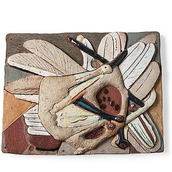 226. Tyra Lundgren, a stoneware relief 'Prancing dove', Sweden 1960's.